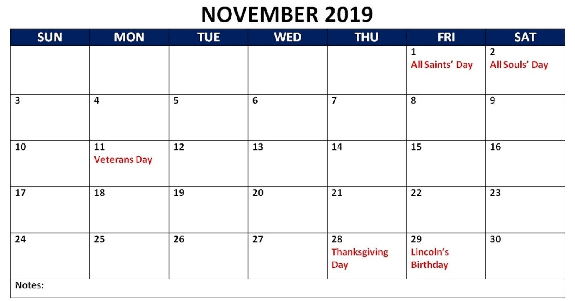November 2019 Calendar with Holidays India