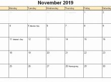 November 2019 Calendar with Holidays US