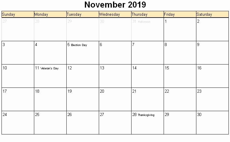 November 2019 Calendar with Holidays US