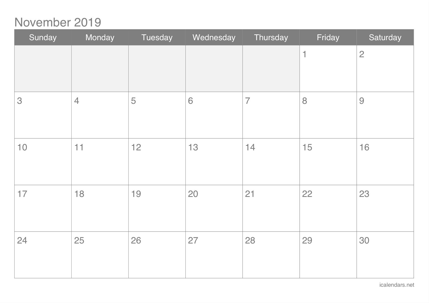 November Calendar 2019 Excel Xls