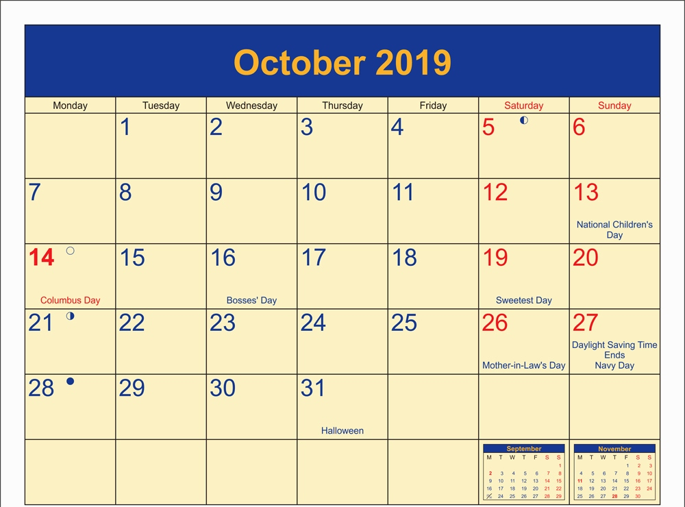 October 2019 Calendar Holidays Printable
