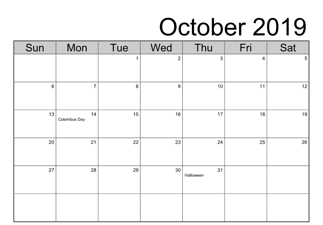 October 2019 Calendar Holidays Template
