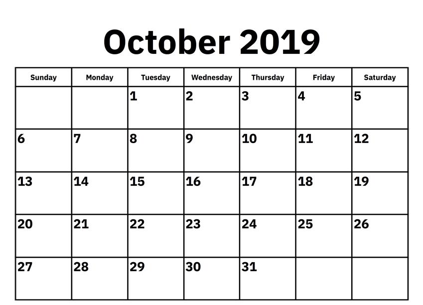 October 2019 Calendar Word