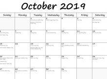 October Calendar 2019 Holidays