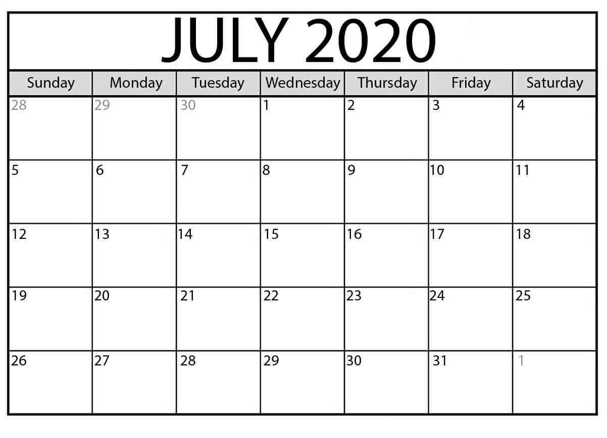 Printable Editable July 2020 Calendar