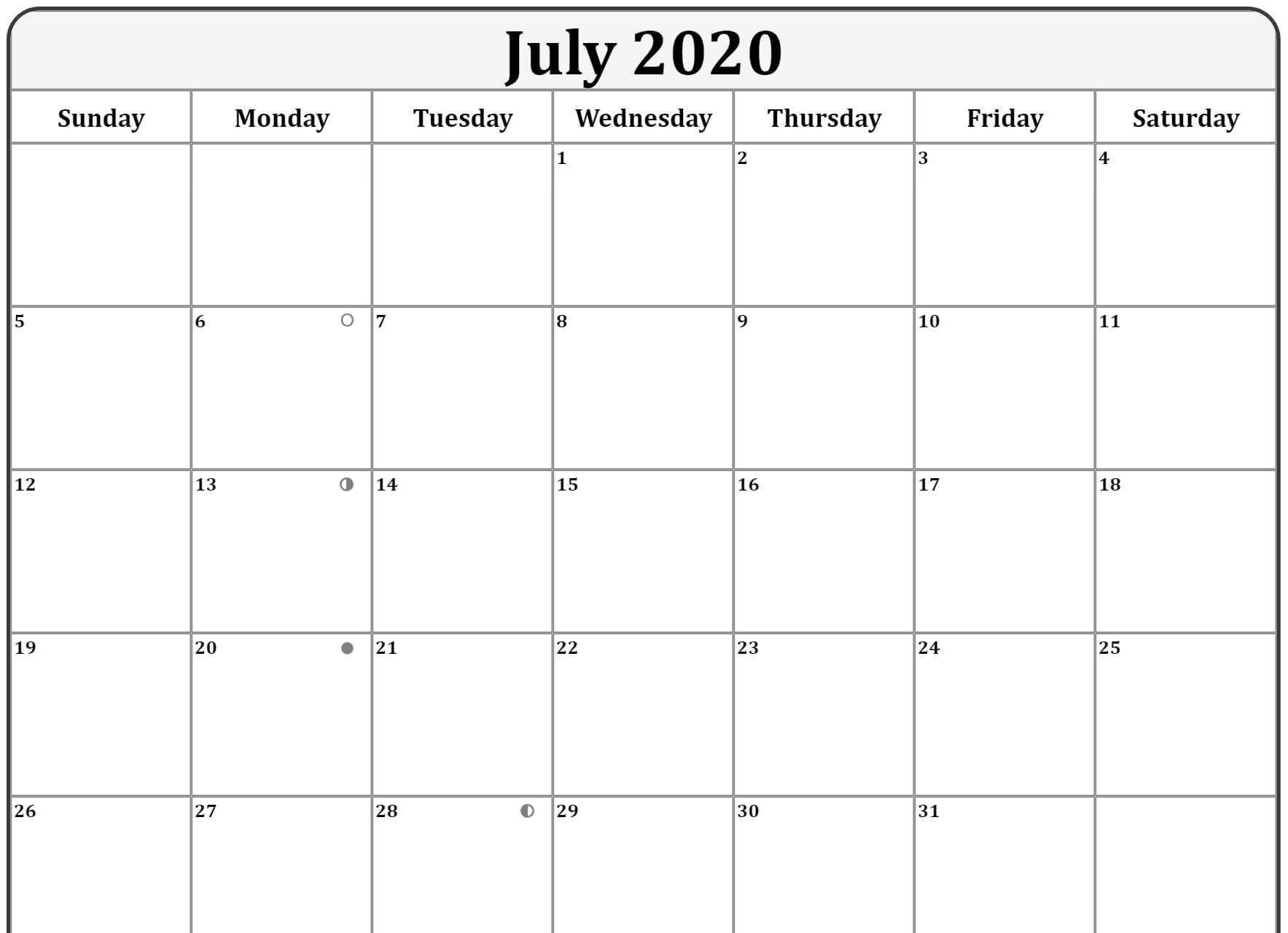 Printable Moon Phases of July 2020