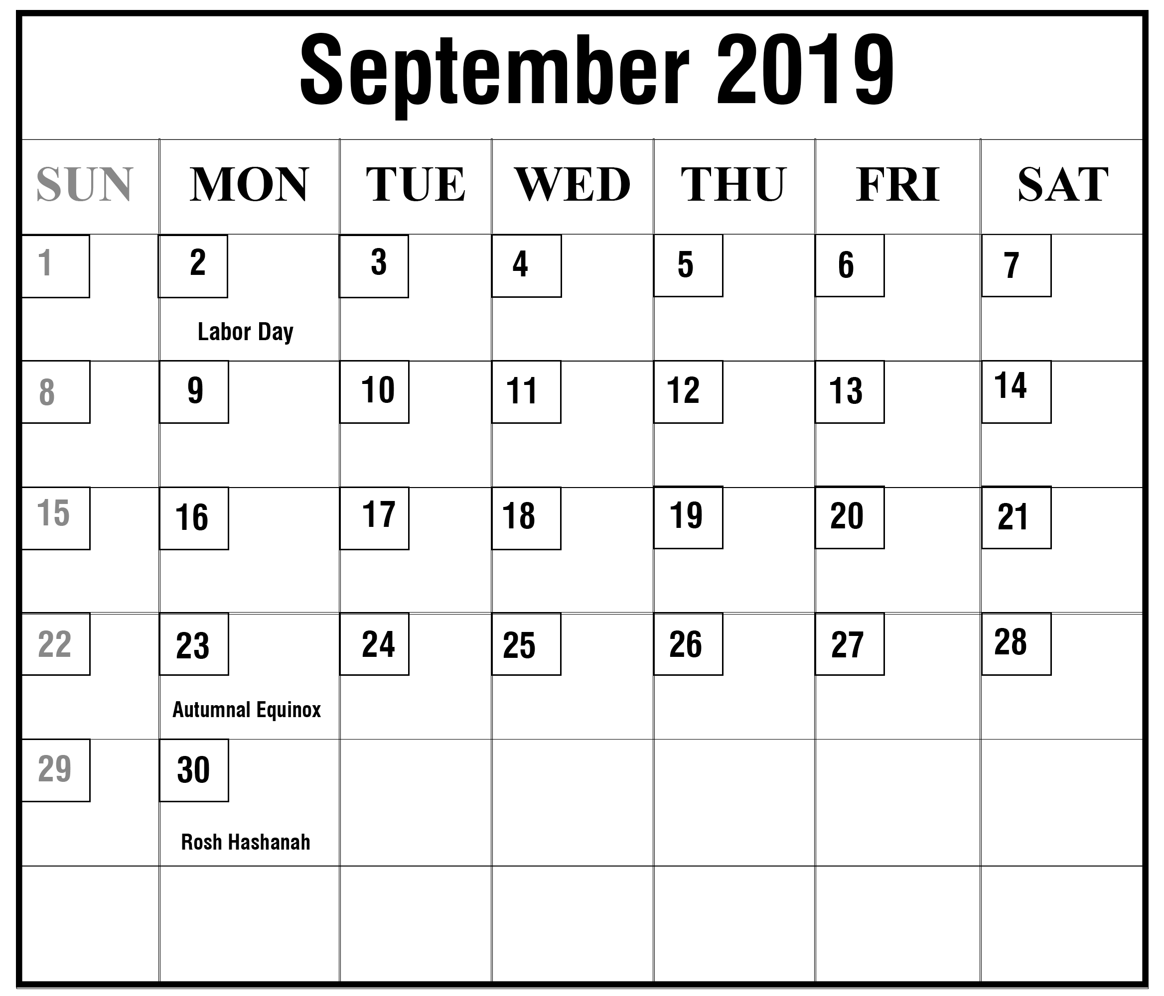 Printable September 2019 Calendar Holidays