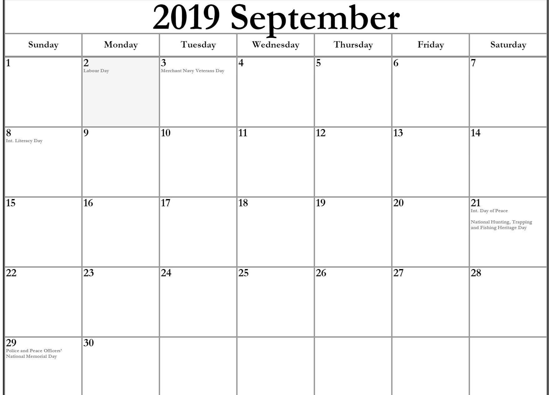 September 2019 Calendar Canada