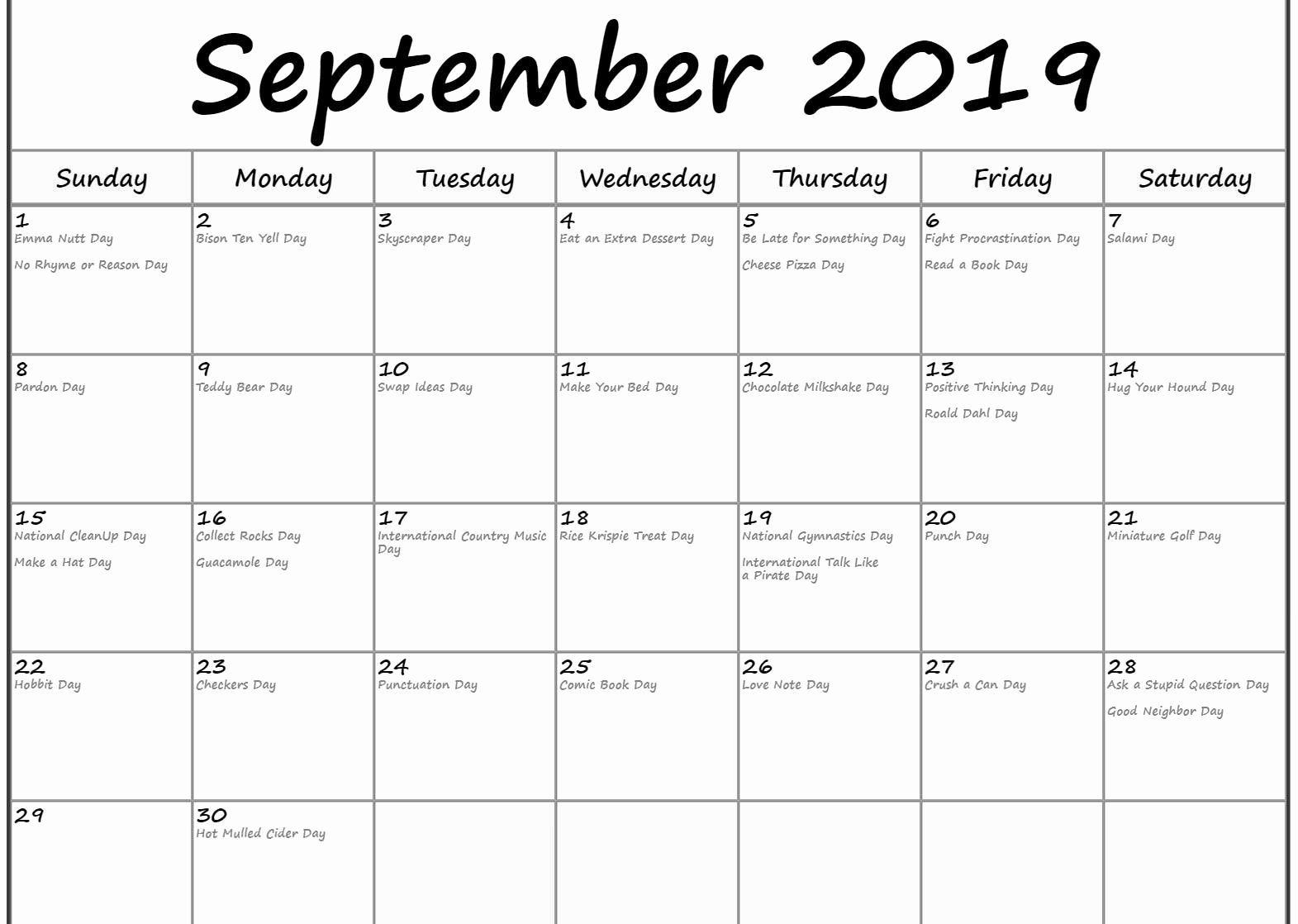 September 2019 Calendar Holidays US