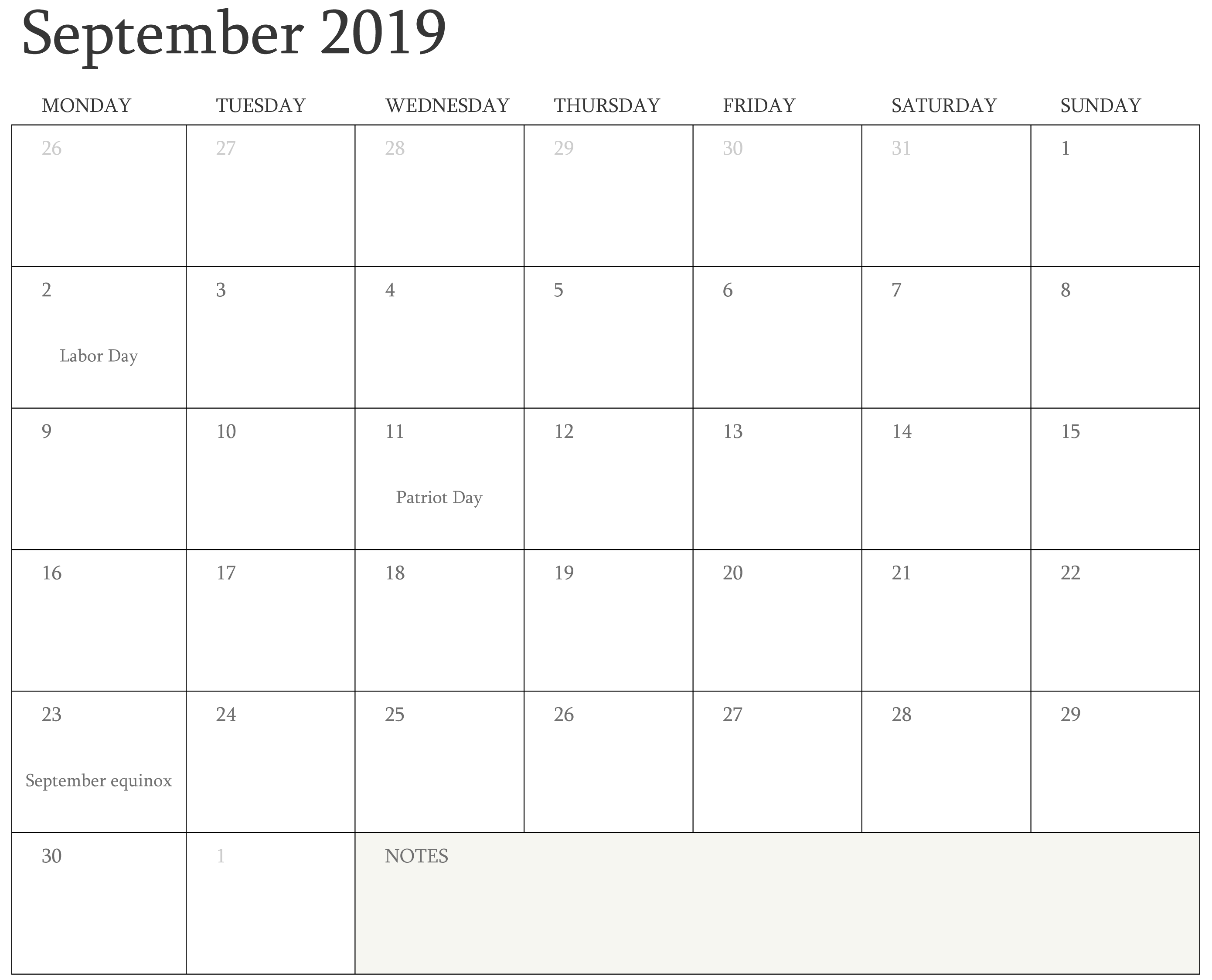 September 2019 Calendar With Holidays with Notes