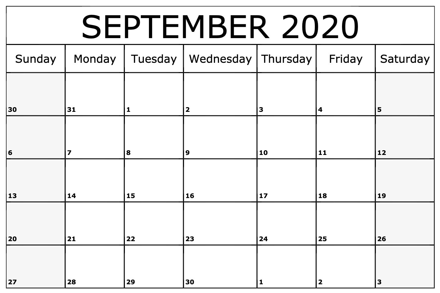 September Calendar 2020 Printable Template