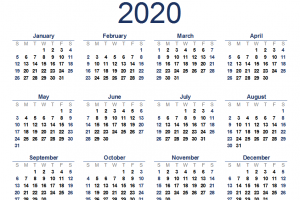 2020 Monthly Calendar Template Excel