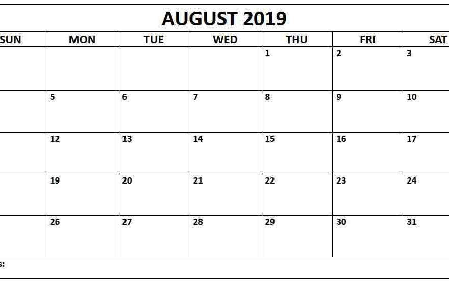 August 2019 Blank Calendar Landscape Layout