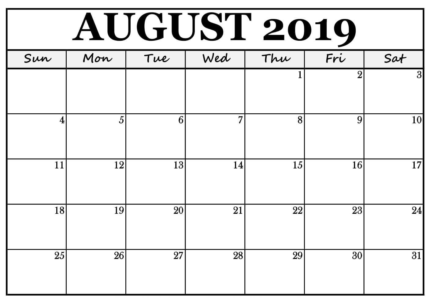 August 2019 Calendar Blank Template