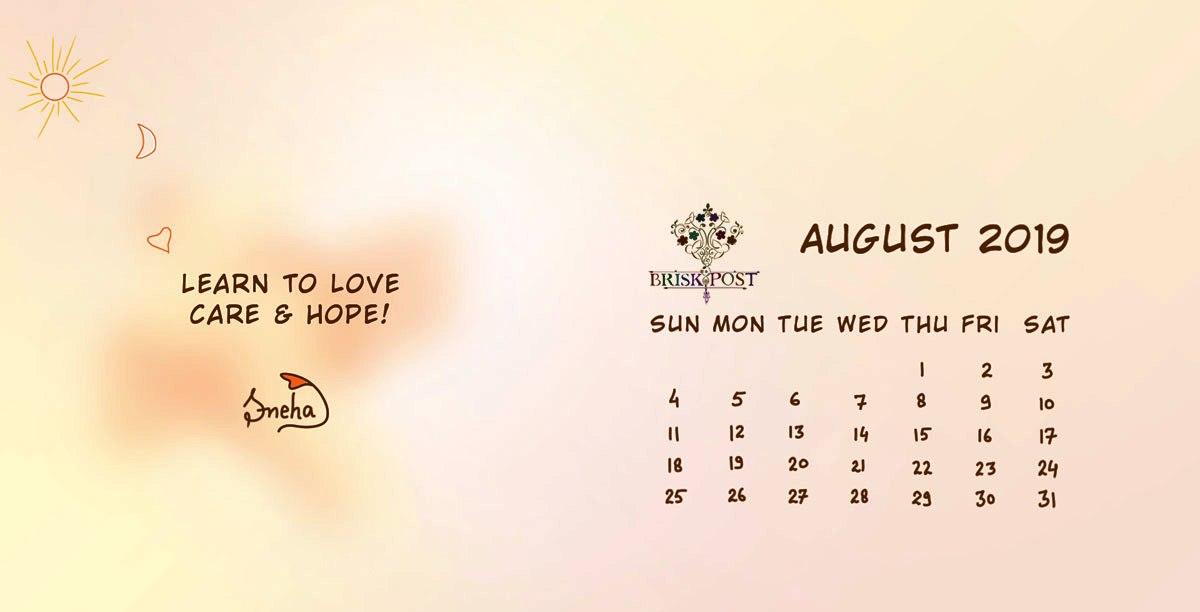 August 2019 Calendar Desktop Wallpaper
