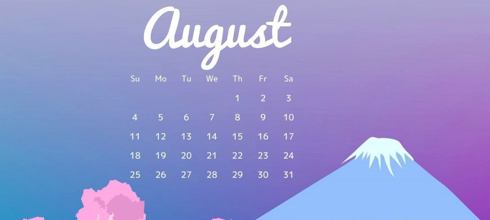 August 2019 Desktop Calendar Template