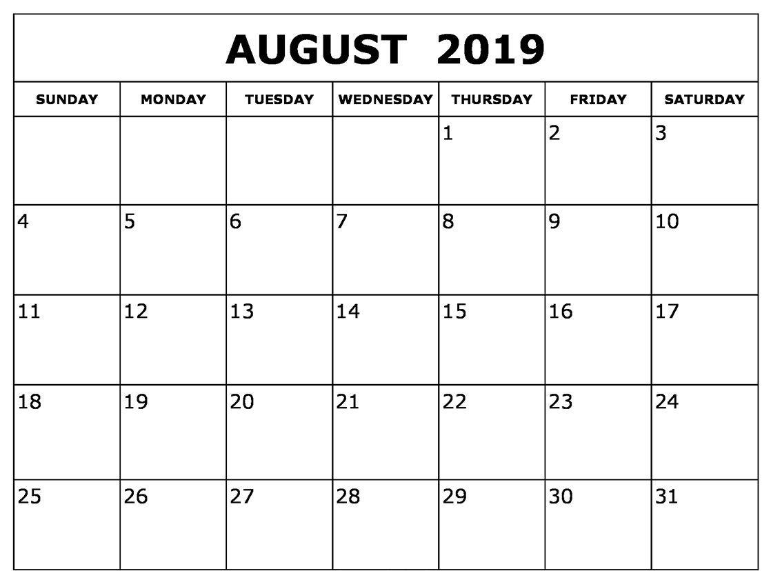 Blank 2019 August Calendar Template