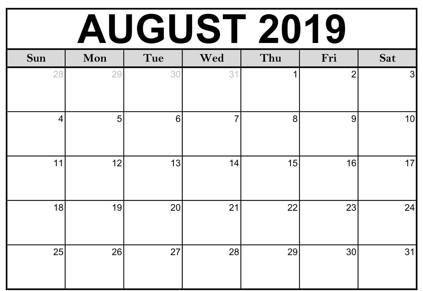 Blank August 2019 Calendar Printable Template