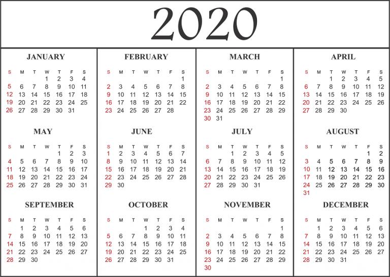 Blank Calendar 2020 Templates
