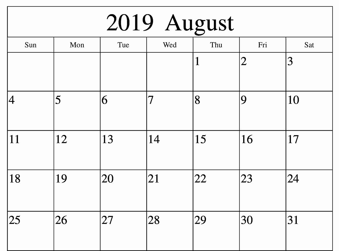 Blank Printable Calendar for August 2019