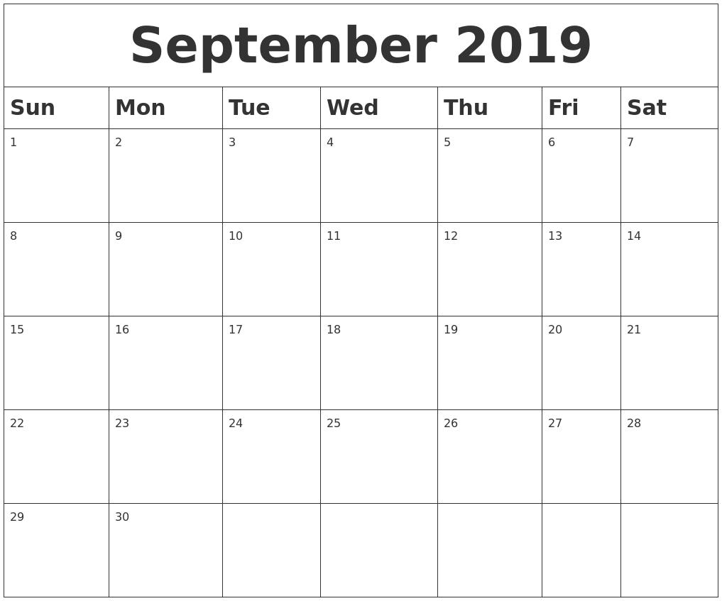 Blank September 2019 Calendar Template