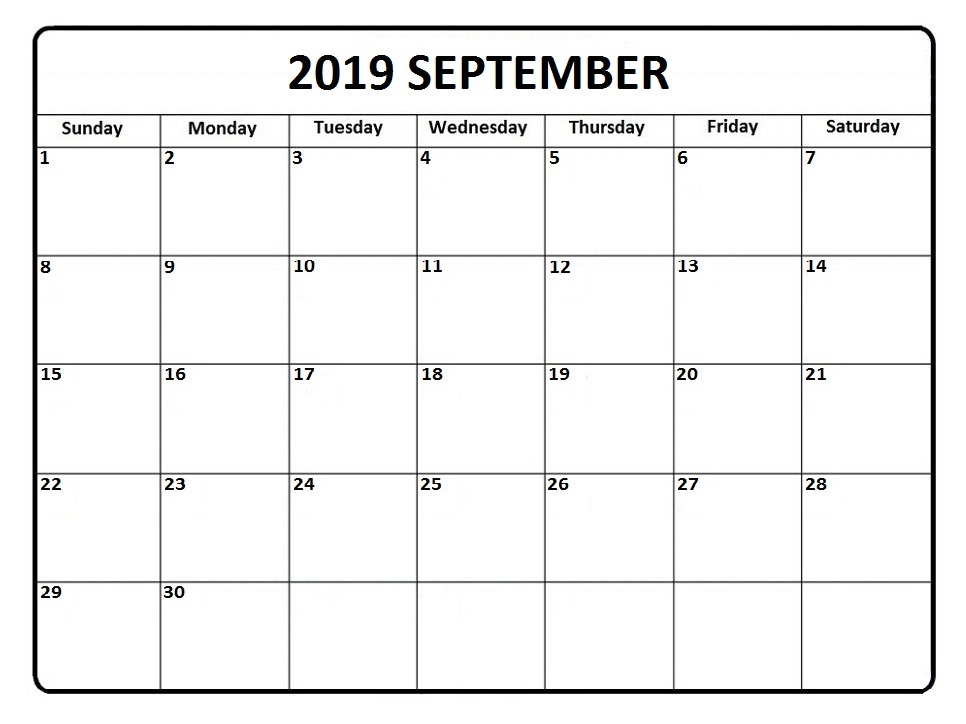 Blank September 2019 Calendar With Holidays