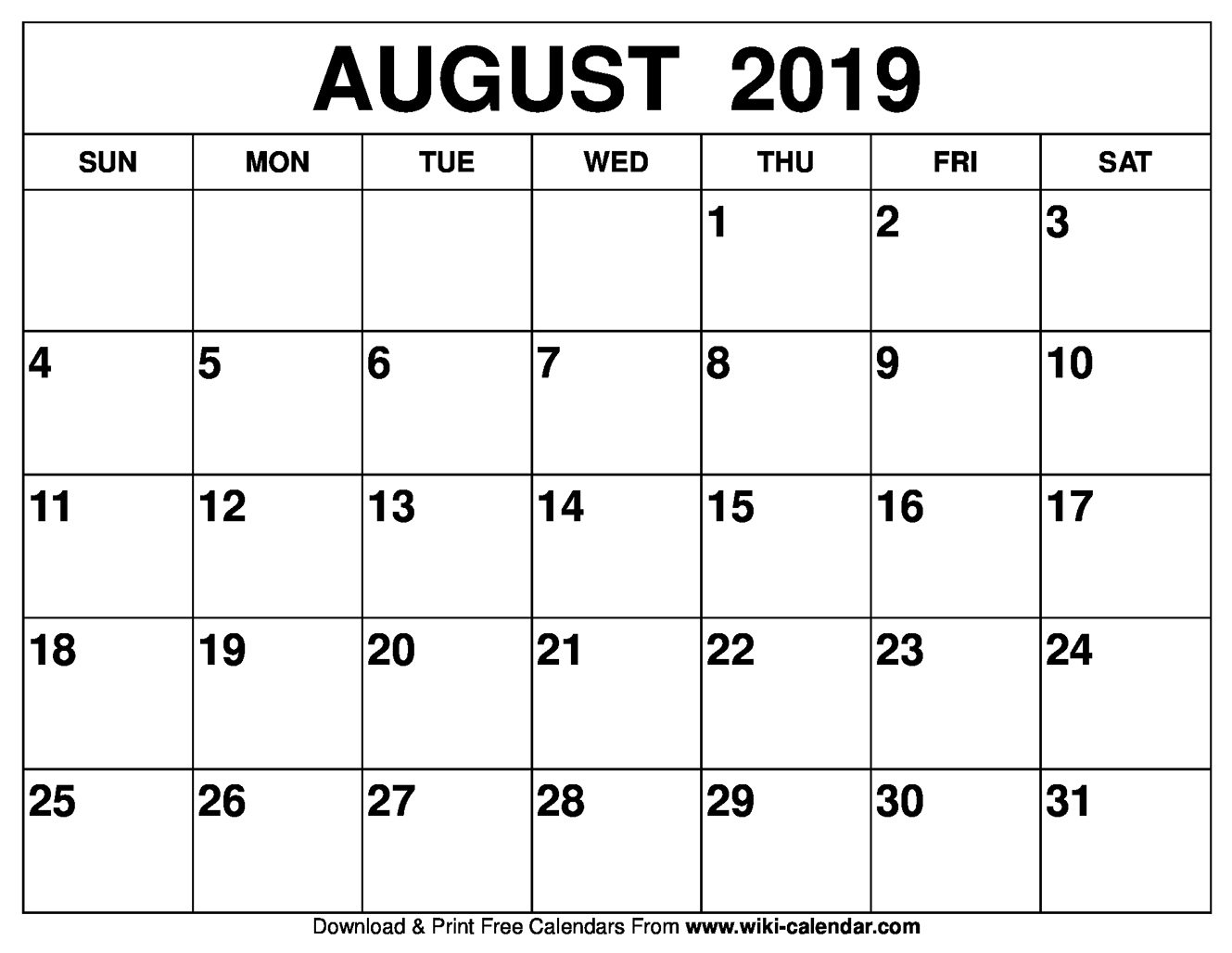 Calendar of August 2019 Printable Template
