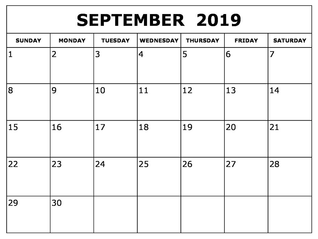Cute September 2019 Calendar Printable