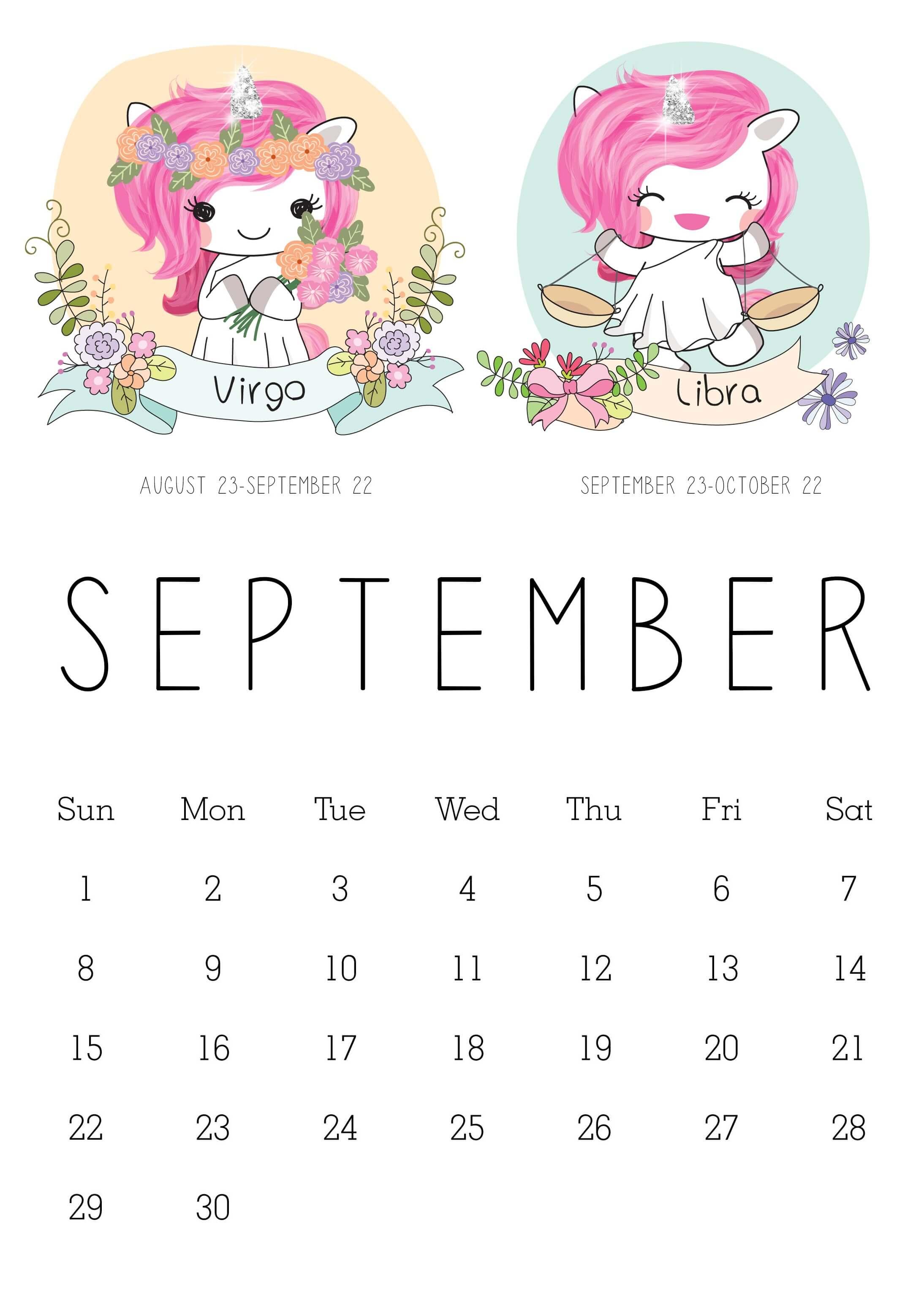 Cute September 2019 Calendar for Kids