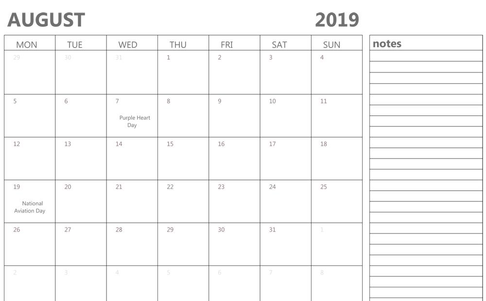Editable 2019 August Calendar