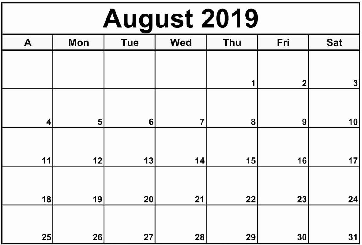 Editable August Calendar 2019 Template