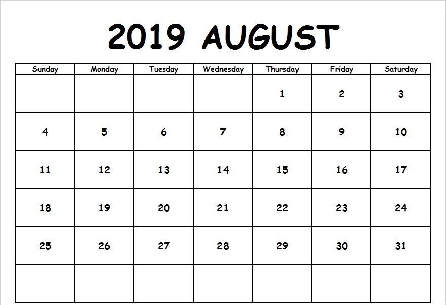 Fillable August 2019 Calendar Templates