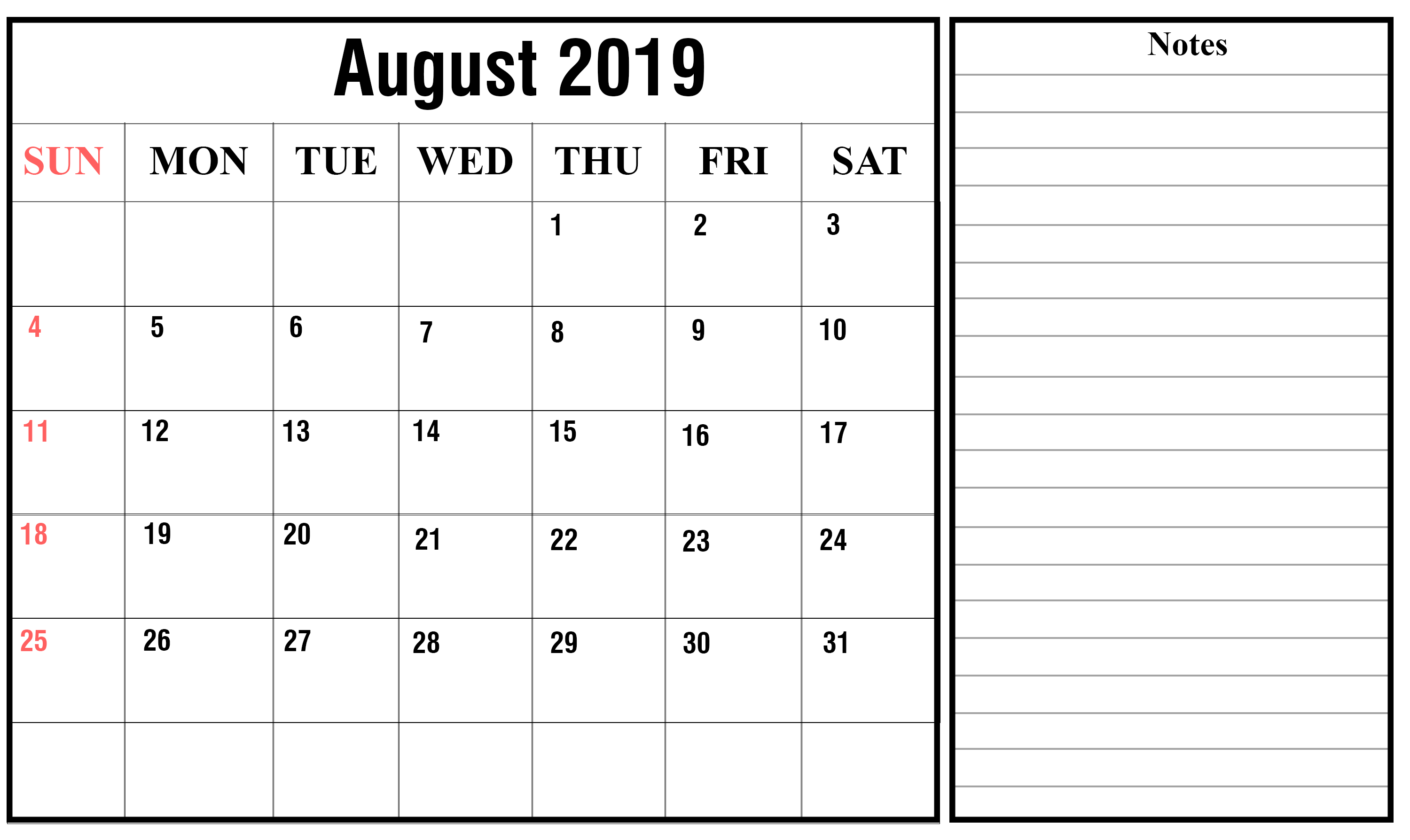 Fillable August 2019 Calendar