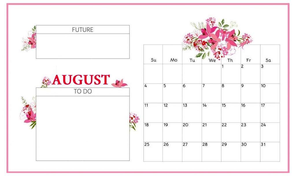 Floral August 2019 Desk Calendar