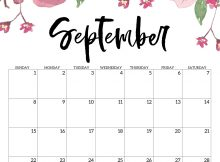 Floral September 2019 Calendar Template