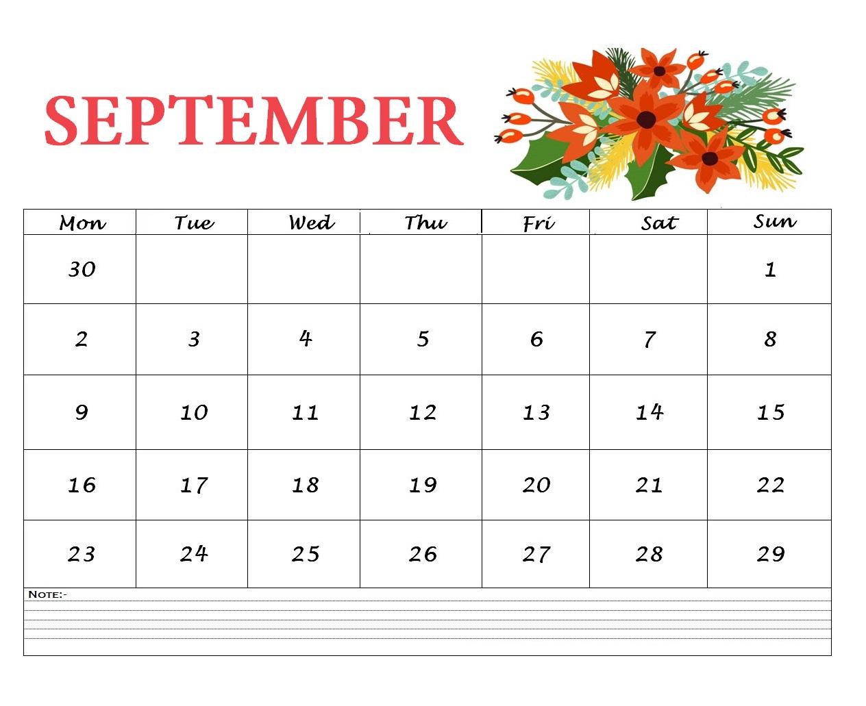 Floral September 2019 Desk Calendar