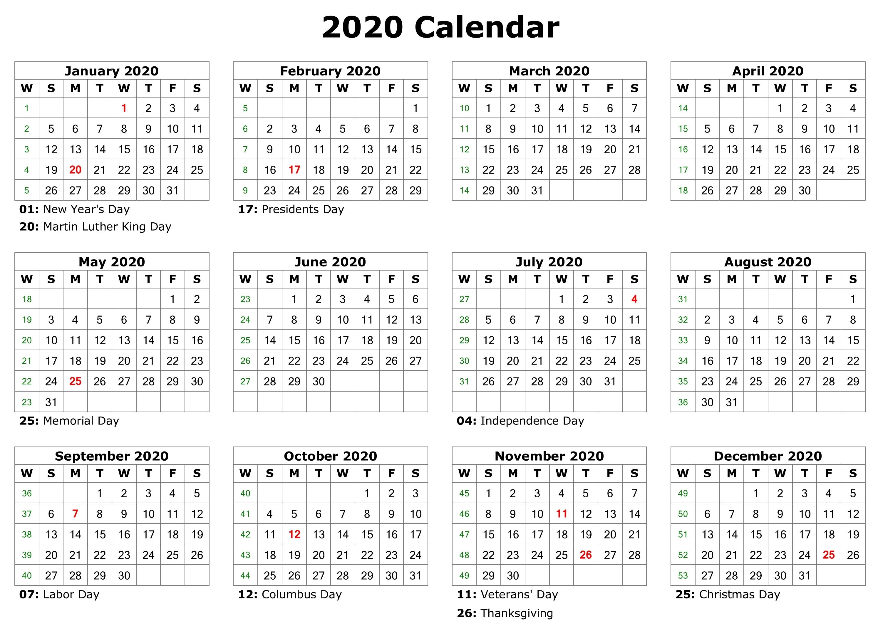 Free Editable Calendar 2020 Printable Templates
