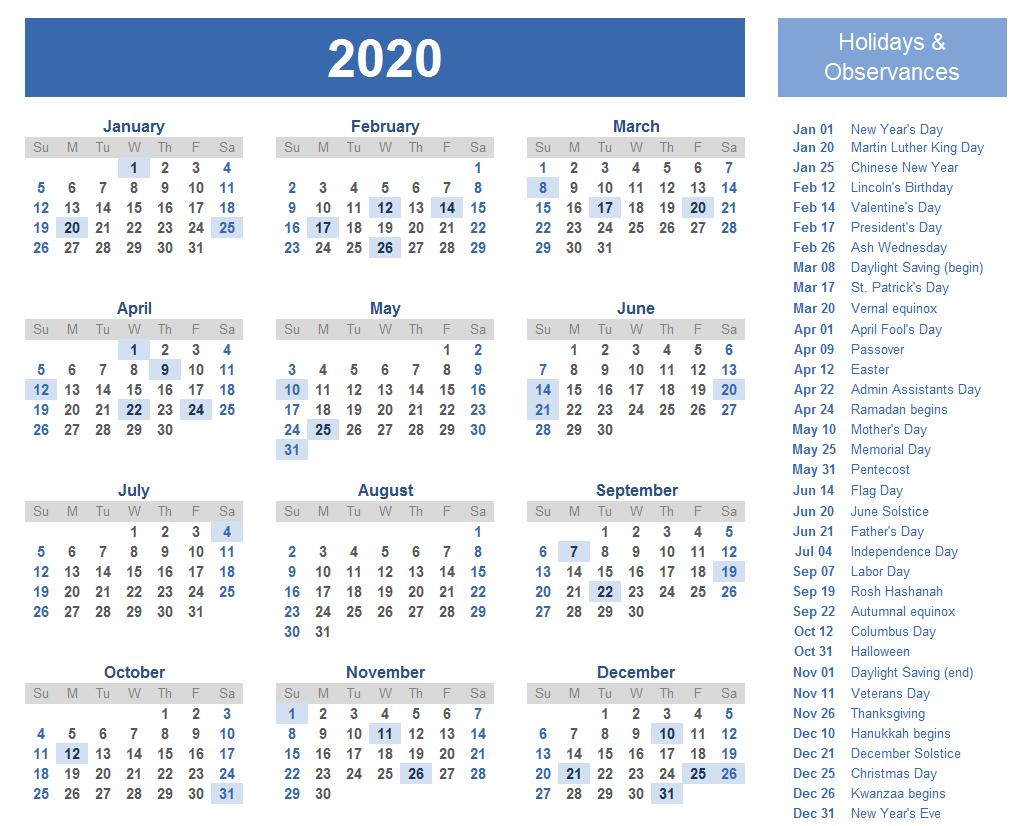 Editable Calendar 2020 Templates