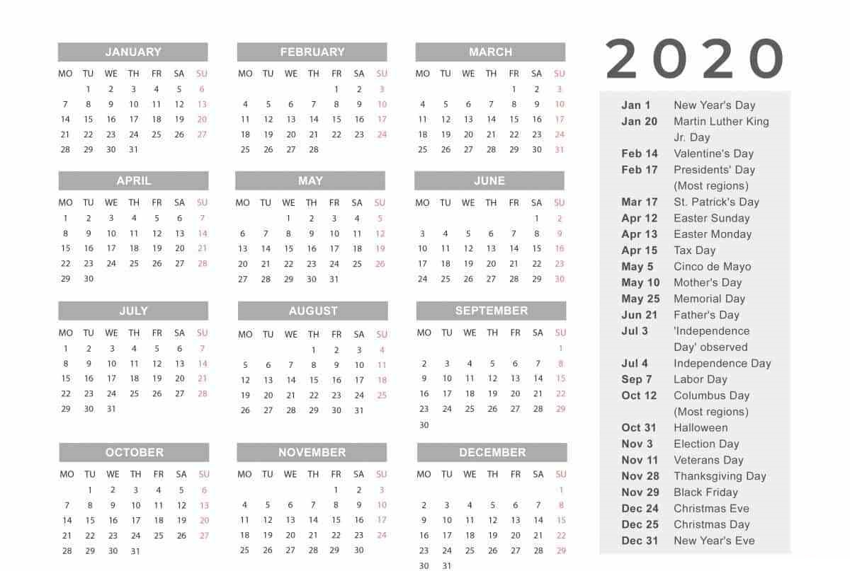 Holidays Calendar 2020 Printable Template