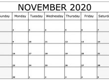November 2020 Calendar Printable Template