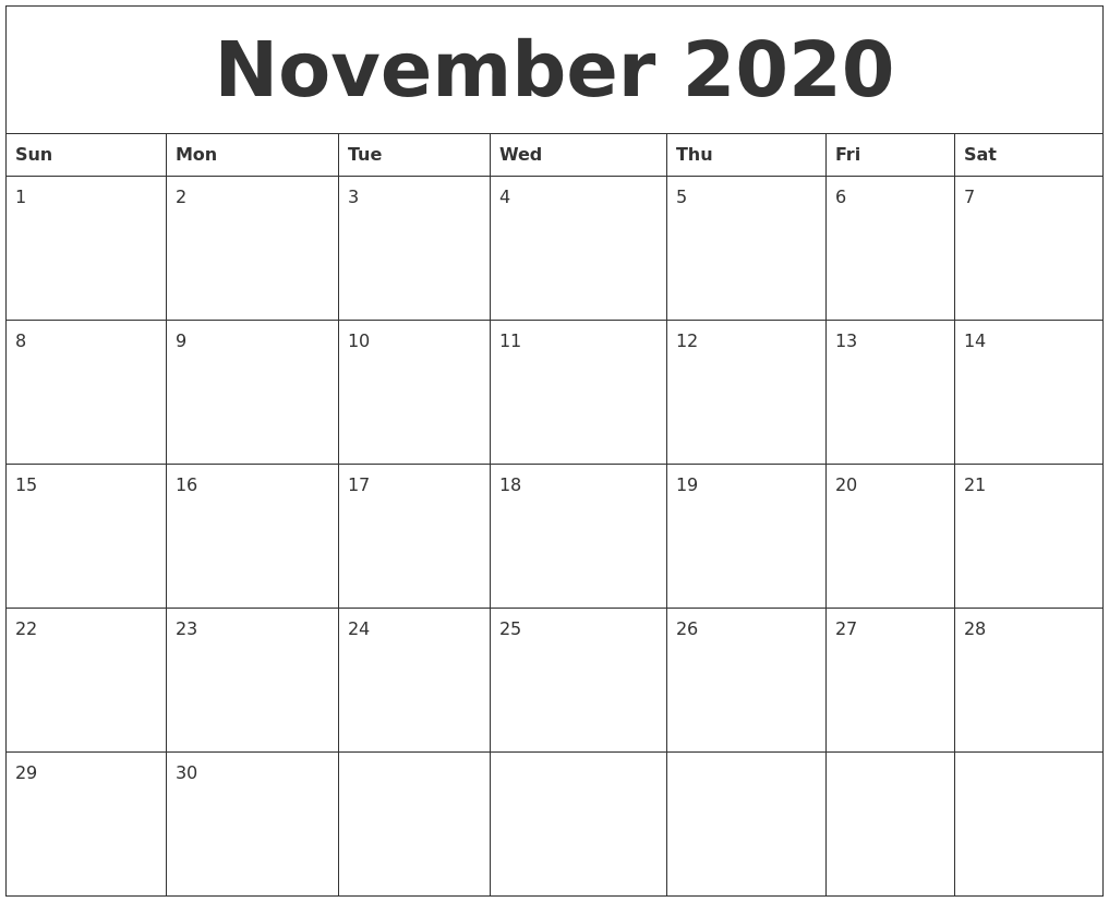 November 2020 Calendar Wallpaper November 2020 Calendar PDF, Word, Excel Template