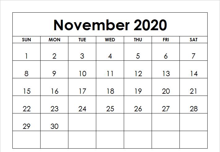 November 2020 Calendar Word