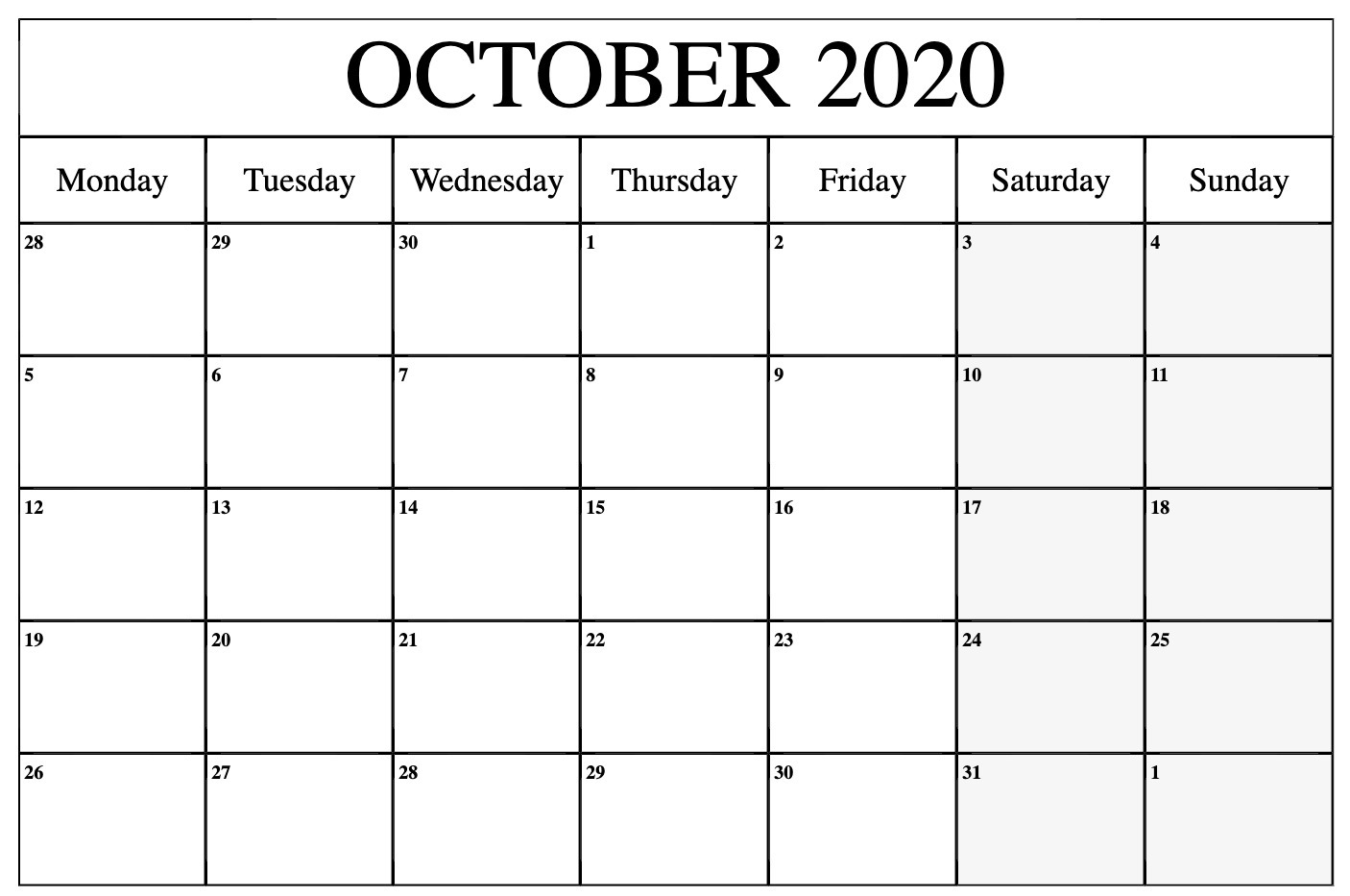 Calendario In Excel 2020.October 2020 Calendar Pdf Word Excel Template