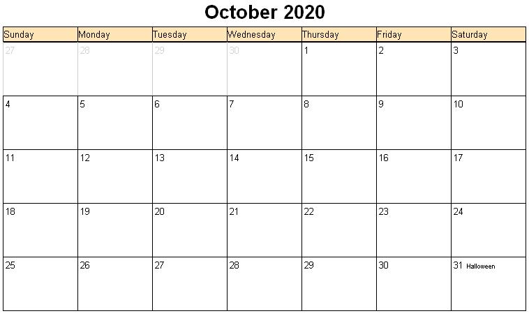 October 2020 Calendar Pdf October 2020 Calendar PDF, Word, Excel Template