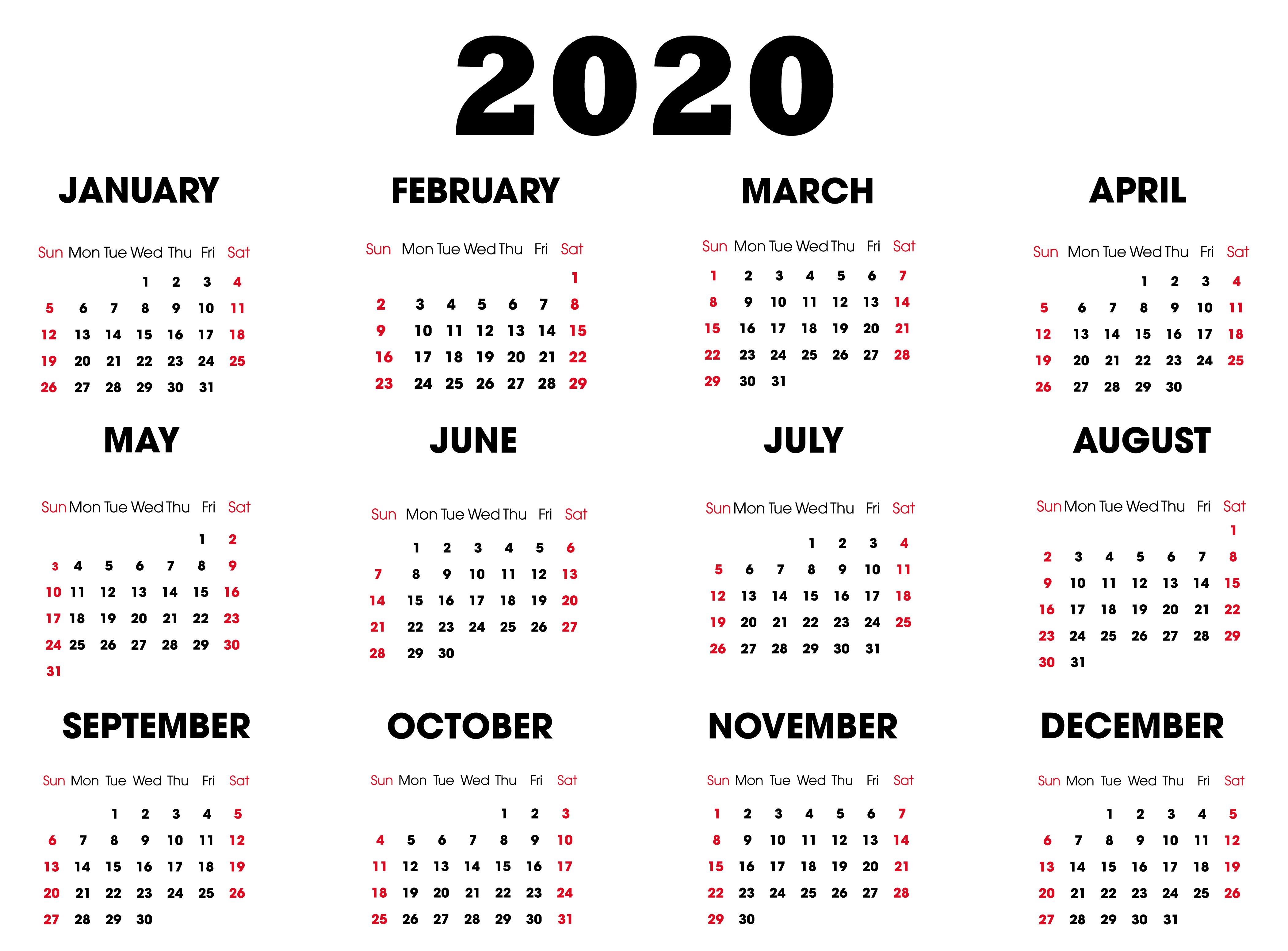 Printable 2020 Calendar