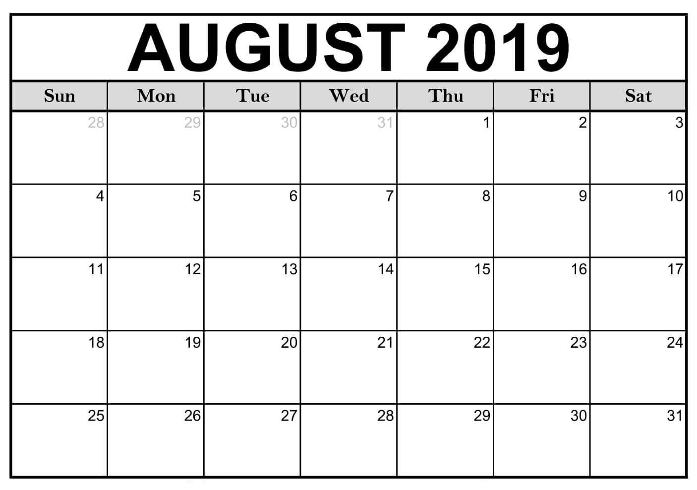 Printable August 2019 Calendar Editable