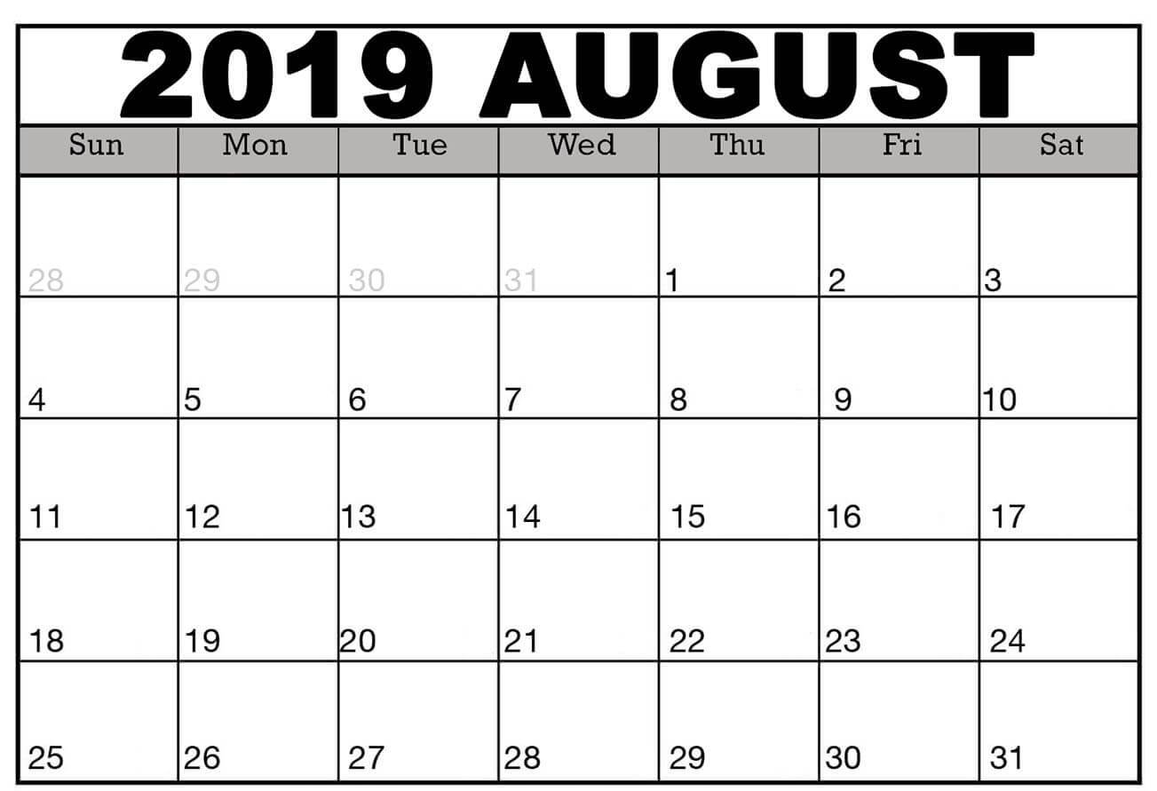 Printable August 2019 Calendar Template