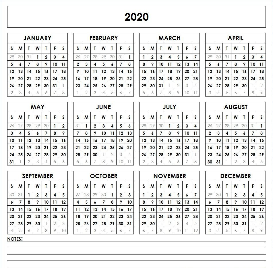 Printable Calendar 2020 Blank Template
