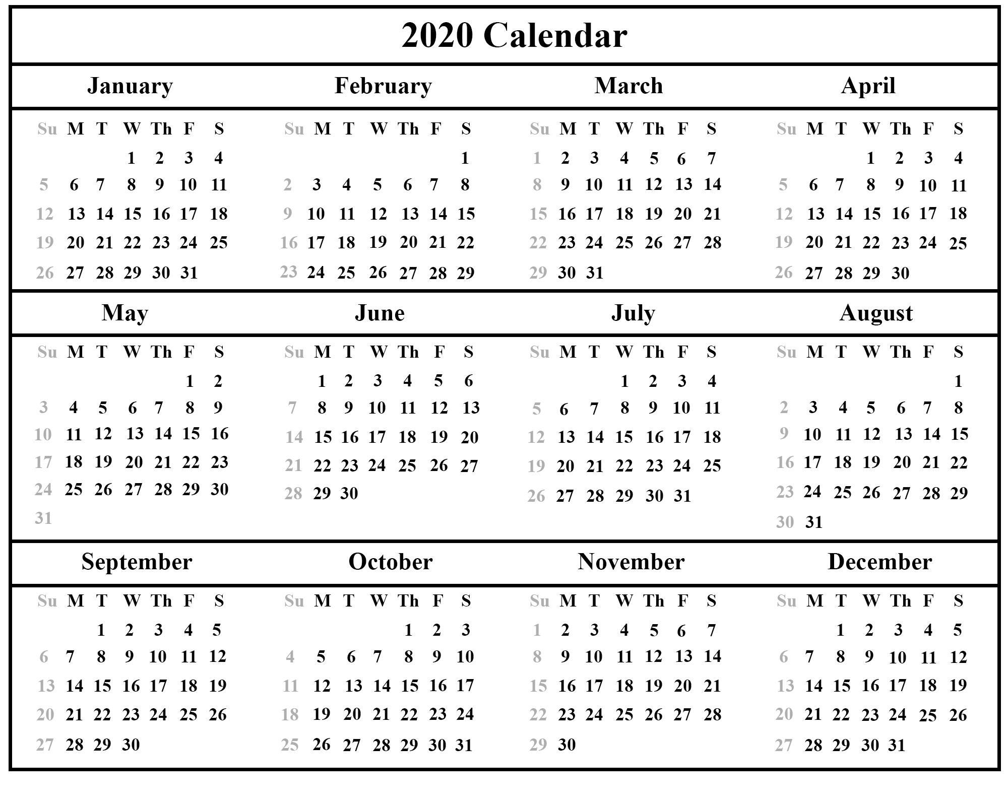 Free Printable Calendar 2020 Template