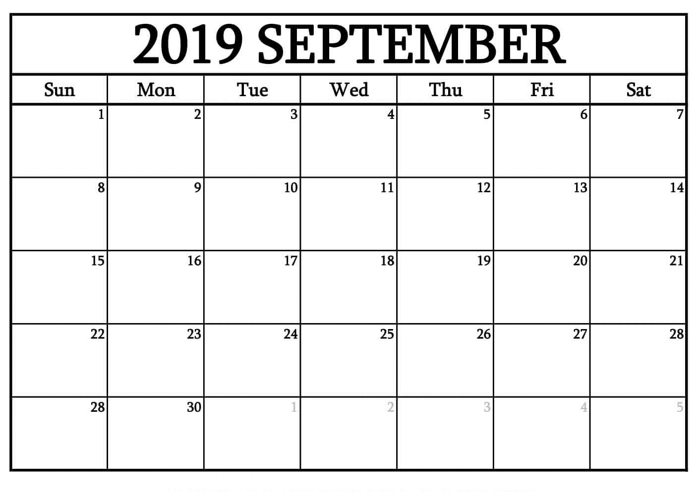 Printable September 2019 Free Blank Calendar